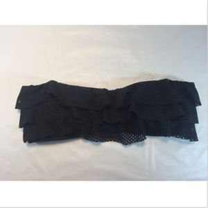 Large Strapless Bikini Top Ruffles Cute Black